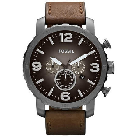 FOSSIL 大世紀戰神三眼計時腕錶-灰黑/咖啡 JR1424