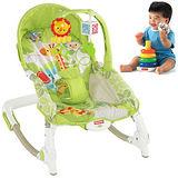 【費雪牌 Fisher-Price】可攜式兩用安撫躺椅+疊疊樂 層層疊彩虹套圈