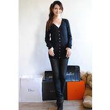 【ZARA】BSK 小V排扣附腰帶長版針織外套(黑)