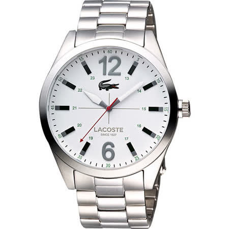 Lacoste 十字鏢靶時尚大三針腕錶-白/銀 L2010697