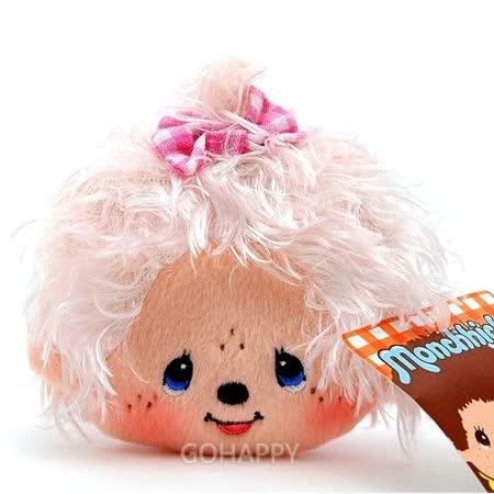 日本Sekiguchi夢奇奇MONCHHICHI【捲捲毛斜背零錢包】粉色