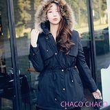 預購【CHACO韓國】2way真毛連帽可拆內層收腰保暖大衣外套CLCD-C-5*黑色F/L