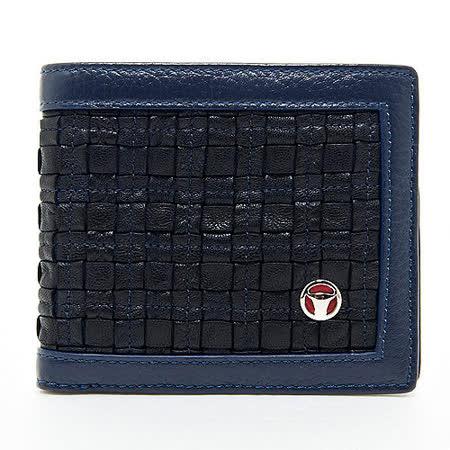 OFFERMANN 深藍色編織皮革短夾皮夾( FKLWV01NVC))