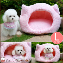 L號加大 日本KOJIMA 細軟纖維舒適柔綿粉紅貓頭造型寵物床 貓狗窩 35*55*35cm