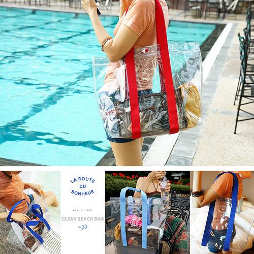 ~韓國 品牌 invite.L~大收納袋 防水袋 手提包 防潑水 透明防水游泳袋 海灘袋
