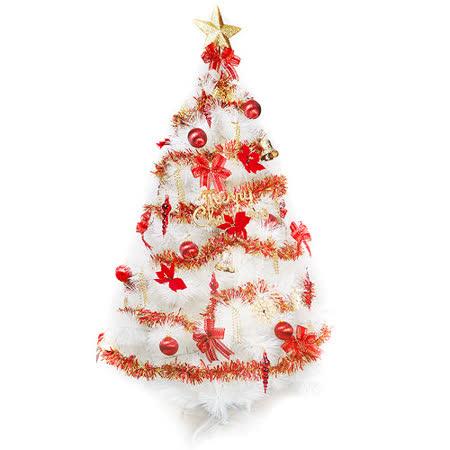 台灣製10尺/10呎(300cm)特級白色松針葉聖誕樹 (+紅金色系配件組)(不含燈)