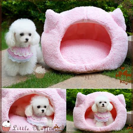 日本KOJIMA 舒適柔綿粉紅貓頭造型寵物床