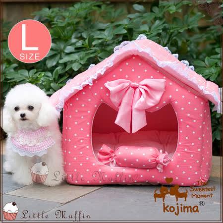 日本KOJIMA麂皮絨感點點高級寵物窩 公主房屋造型加大L號 中型犬可用
