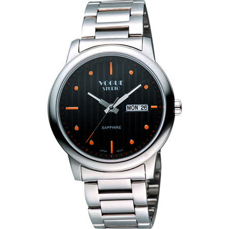 VOGUE 時尚藍寶石水晶日期腕錶-黑/銀 7V3934SD