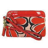 COACH 花卉圖案雙層拉鍊卡片手機包(紅)