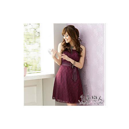 【白色戀人中大尺碼】紫紅色時尚東方花網小禮服洋裝