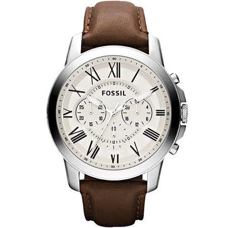 FOSSIL 經典旗艦三眼計時腕錶-銀/咖啡 FS4735