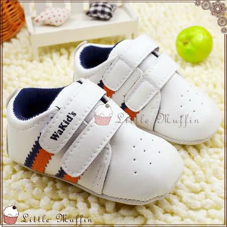 【Little Muffin小馬芬】藍橘線條白底運動感魔鬼氈小球鞋止滑膠底學步鞋 [SMI333]