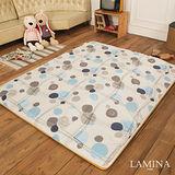 LAMINA  青白竹蓆兩用床墊(藍)5CM-雙人