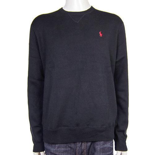 Ralph Lauren 小馬素面針織圓領男衫(黑)