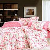 《KOSNEY 夢幻花語》加大精梳棉四件式兩用被床包組