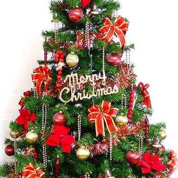 台灣製10尺/10呎(300cm)豪華版裝飾聖誕樹 (+紅金色系配件組)(+100燈樹燈7串)