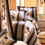 《KOSNEY 藍花戀影 》加大100%活性精梳棉六件式床罩組台灣製