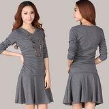【麗質達人中大碼】2154顯瘦連身洋裝(灰色)