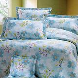 《KOSNEY 魅力花語-藍 》加大100%活性精梳棉六件式床罩組台灣製