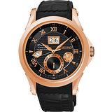 SEIKO PREMIER 人動電能萬年曆腕錶-黑x玫塊金 7D48-0AL0P