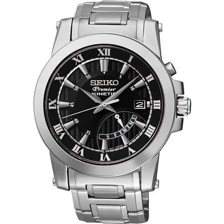 SEIKO Premier 逆跳式星期人動電能腕錶-黑/銀 5M84-0AA0D