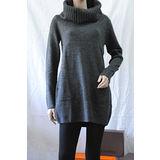【H&M】簡約甜美高領針織寬版連身裙(深灰)