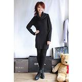 【H&M】簡約風歐美時尚寬領素面連身裙(黑)