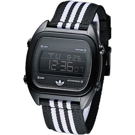 adidas 休閒運動風帆布電子腕錶-黑ADH2731
