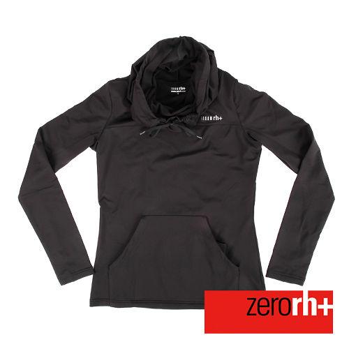 ZERORH  刷毛立領連帽式 休閒衣^(女^)~黑色 IWD4121