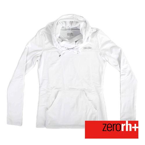 ZERORH  刷毛立領連帽式 休閒衣^(女^)~白色 IWD4121