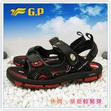 【G.P】新款排水透氣系列(37-43尺碼)-休閒旅遊好方便兩用涼鞋G3633-14(黑紅)共二色