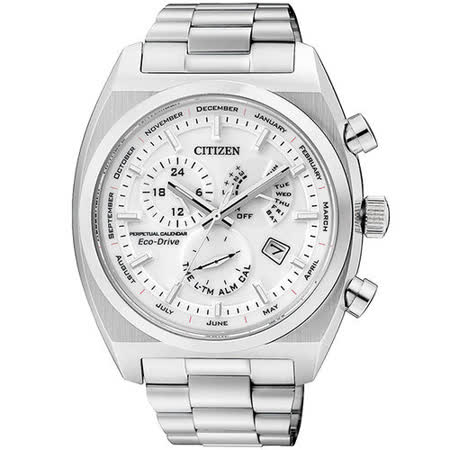 CITIZEN Eco-Drive 萬年曆鬧鈴日曆腕錶-銀 BL8130-59A