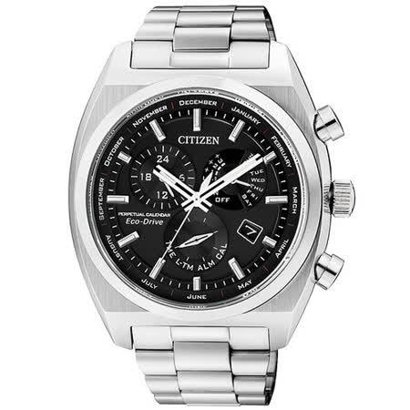 CITIZEN Eco-Drive 萬年曆鬧鈴日曆腕錶-黑/銀 BL8130-59E