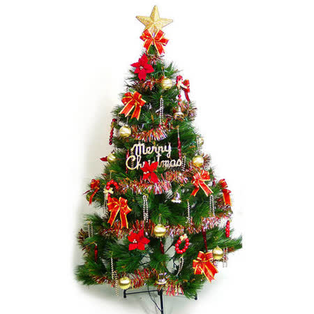 台灣製12尺/12呎(360cm)特級松針葉聖誕樹 (+紅金色系配件組)(不含燈)