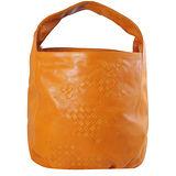 BOTTEGA VENETA 純手工半編織小羊皮單柄肩背包.橙橘