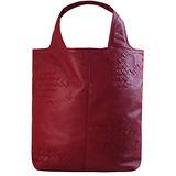 BOTTEGA VENETA 純手工半編織小羊皮雙把手提包.暗紅