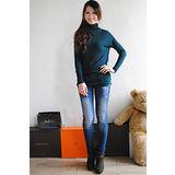 【ZARA】BSK 歐美時尚素雅高領長版針織衫(深綠)