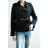 【H&M】歐美時尚質感雙排扣A字綁帶外套(黑)
