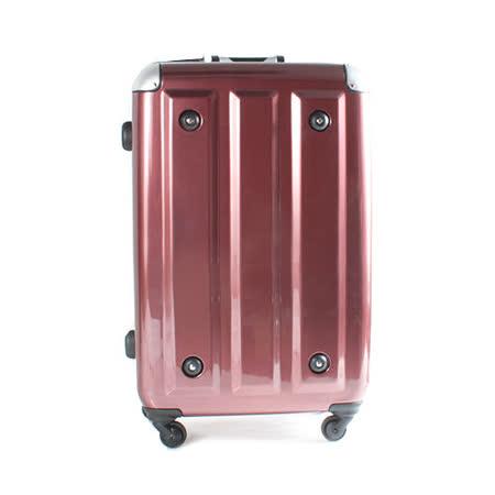 日本MOMJAPAN 新改款輕量鋁框24吋鏡面旅行箱-酒紅方塊MF-3008-24-RD