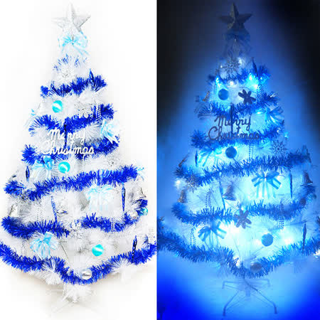 台灣製15尺/15呎(450cm)特級白色松針葉聖誕樹 (藍銀色系)+100燈LED燈9串(附控制器跳機)