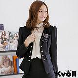 【KVOLL中大尺碼】黑色甜美胸花雙排扣開衫外套