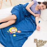 【奶油獅】台灣製造 加厚長毛雙面珊瑚絨保暖毯(星星牛仔款)-湛藍