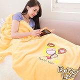 【奶油獅】台灣製造 加厚長毛雙面珊瑚絨保暖毯(星星牛仔款)-暖黃
