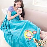 【奶油獅】台灣製造 加厚長毛雙面珊瑚絨保暖毯(星星牛仔款)-水綠