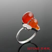 石頭記 福祿蝶疊紅瑪瑙戒指