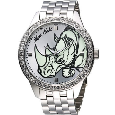 MARC ECKO 獨立精神犀牛晶鑽腕錶-銀 ME11589G1