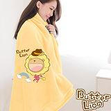 【奶油獅】台灣製造 加厚長毛雙面珊瑚絨保暖毯(彩虹牛仔款)-暖黃