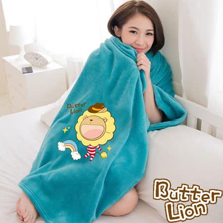【奶油獅】台灣製造 加厚長毛雙面珊瑚絨保暖毯(彩虹牛仔款)-水綠