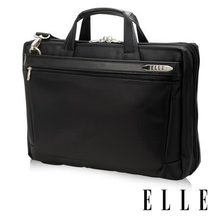 ELLE HOMME 紳士皮革公事包14吋筆電置物層 側背手提兩用設計-黑EL74164A-02